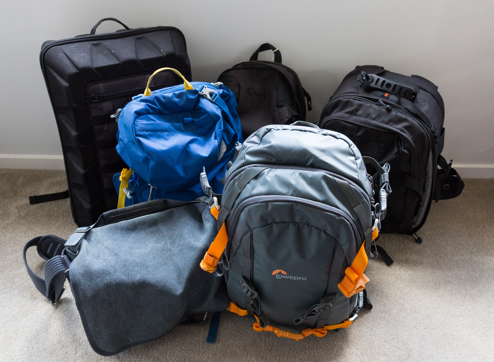 Some of but not all of the camera bags that I have used over the years.